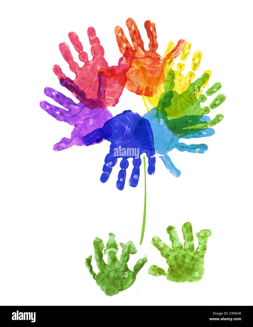 a flower made out of child's hand prints in rainbow colors on a white background Stock Photo
