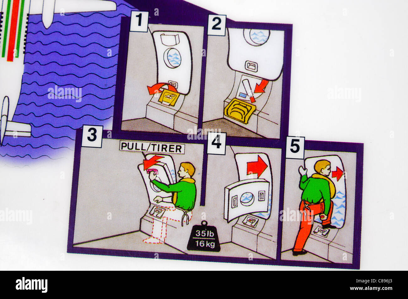 Closeup of an airline safety card showing how to evacuate in the event of an emergency - Stock Image