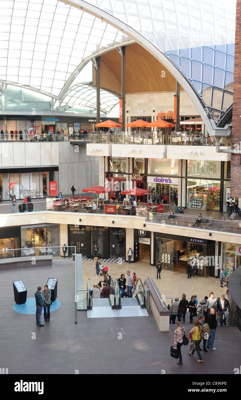 A shopping mall with glass roof - Stock Image