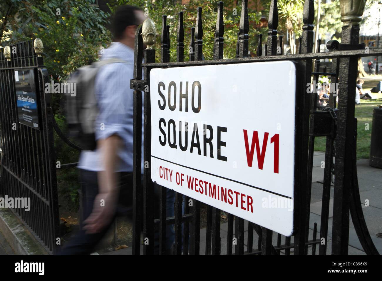 Soho Square, street sign, London, UK - Stock Image