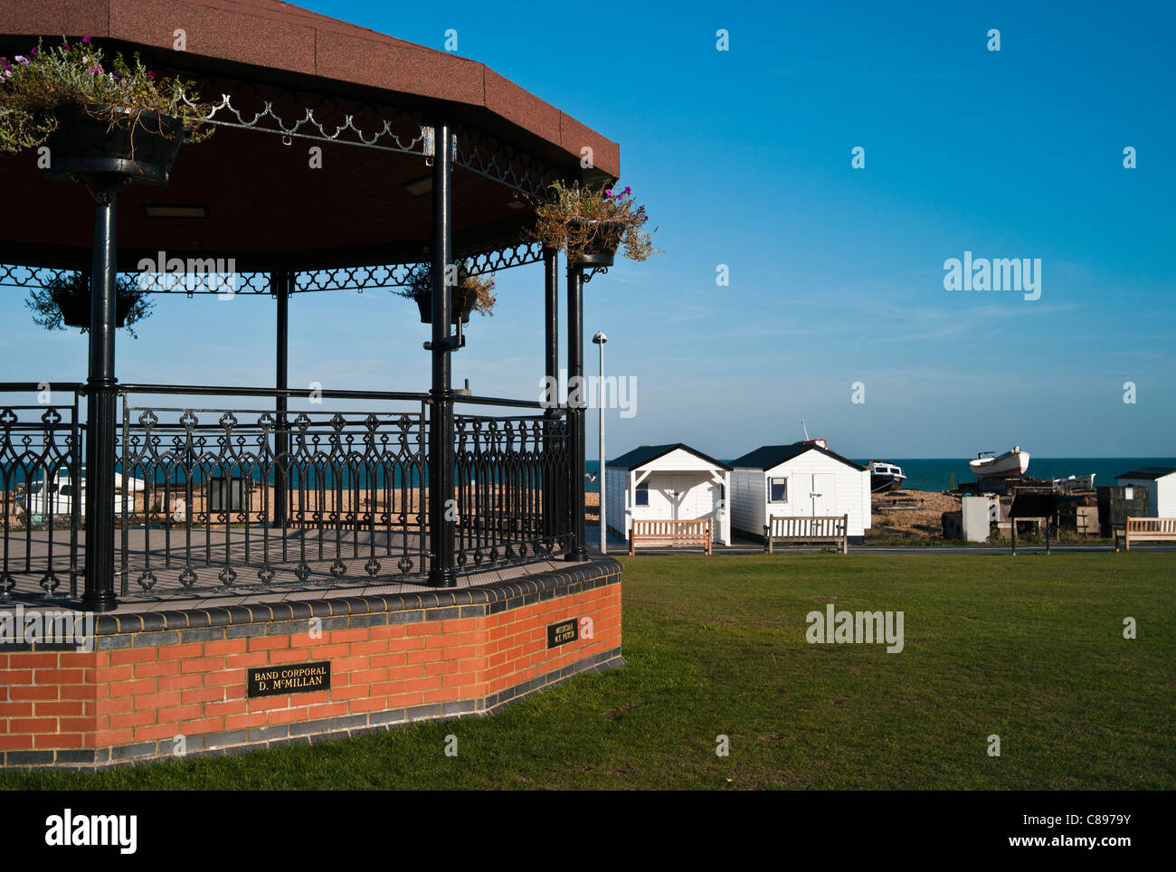 The Military Bandstand on the Seafront, Walmer, Deal, in Memory of Military Bandsmen Killed In IRA Bombing of 1989 - Stock Image
