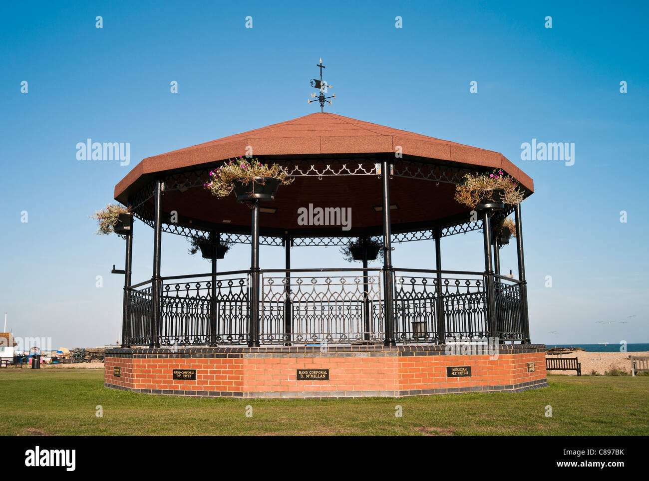 The Military Bandstand Walmer Deal in Memory of Military Bandsmen Killed In IRA Bombing of 1989. - Stock Image