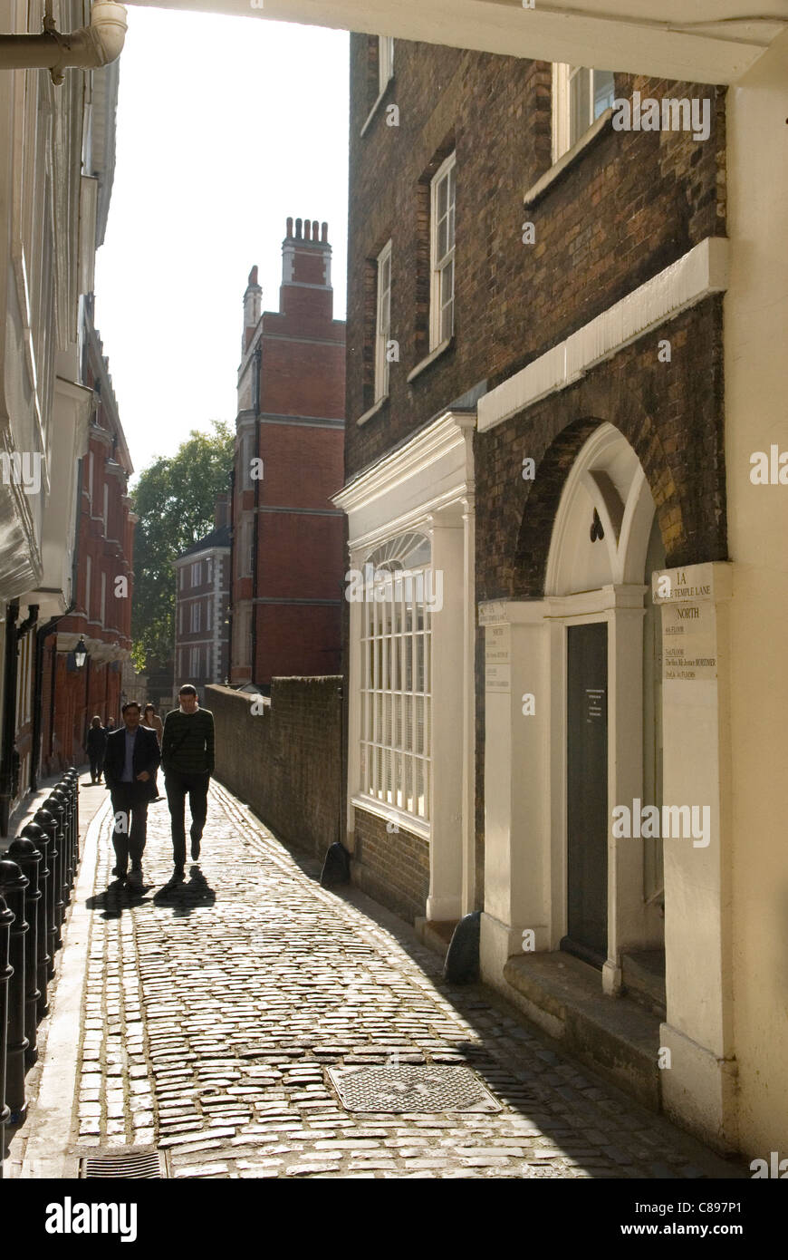 Middle Temple Lane Inns of Court. London UK. From the Gate House looking south toards the Embankment. - Stock Image