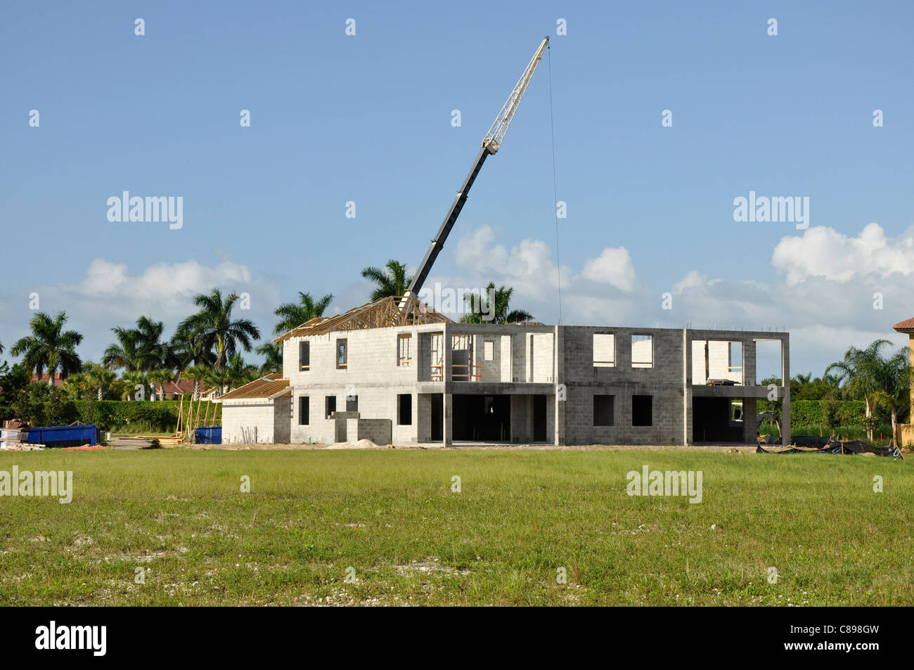 Construction of a large new home Stock Photo