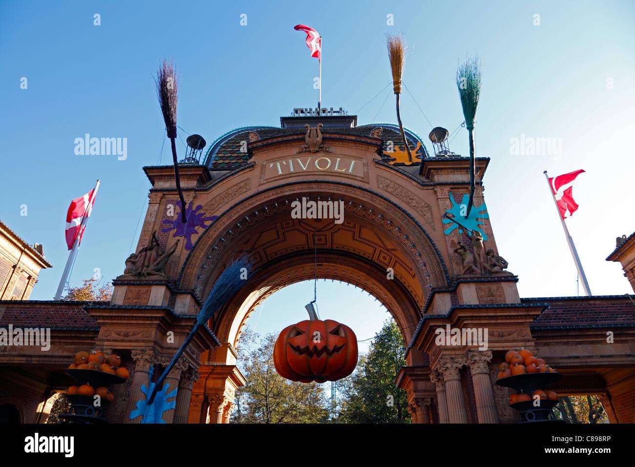Main entrance to the Tivoli Gardens in Copenhagen, Denmark, dressed up for Halloween for the kids in school mid Stock Photo