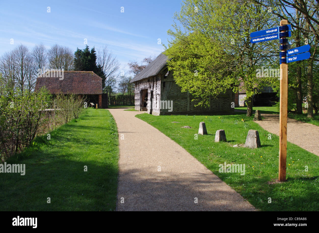 Barn and granary, Avoncroft Museum of Buildings, Bromsgrove - Stock Image