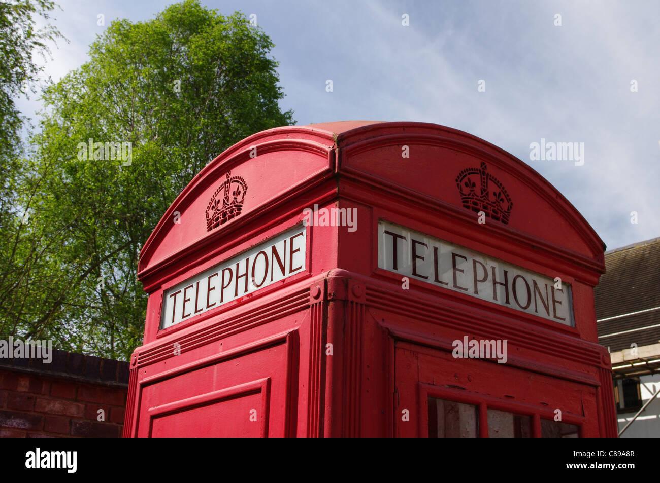 Top of red telephone kiosk, Avoncroft Museum of Buildings, Bromsgrove - Stock Image