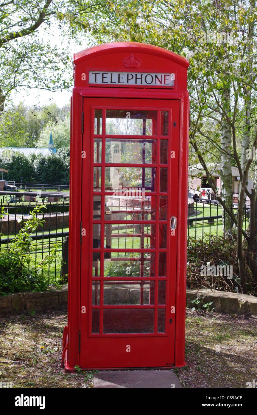 Red telephone kiosk, Avoncroft Museum of Buildings, Bromsgrove - Stock Image
