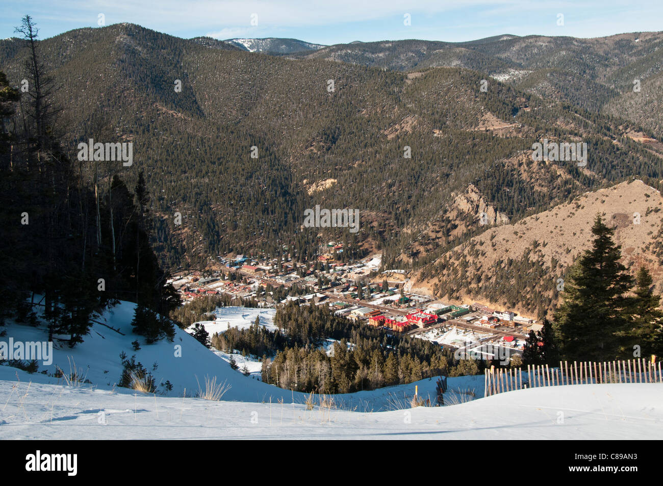 view of town from the slopes of the red river ski area, red river