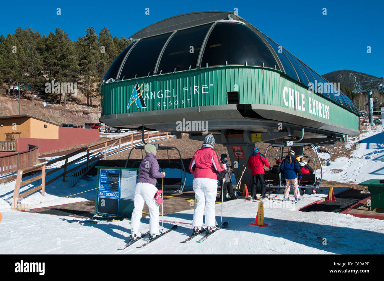 chile express chairlift, base area, angel fire resort, angel fire