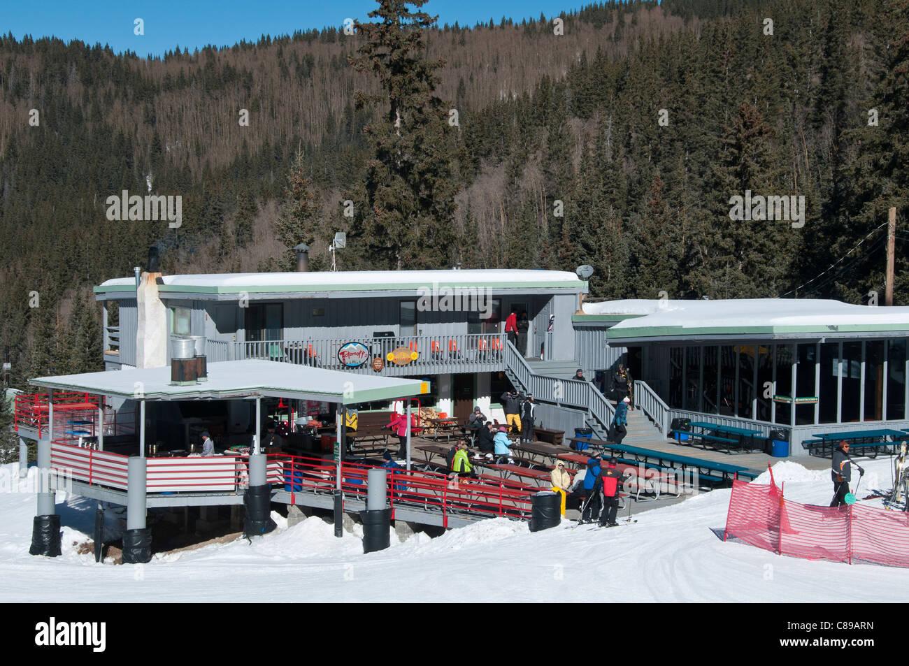 Totemoff's midmountain day lodge, Ski Santa Fe, Santa Fe, New Mexico. - Stock Image