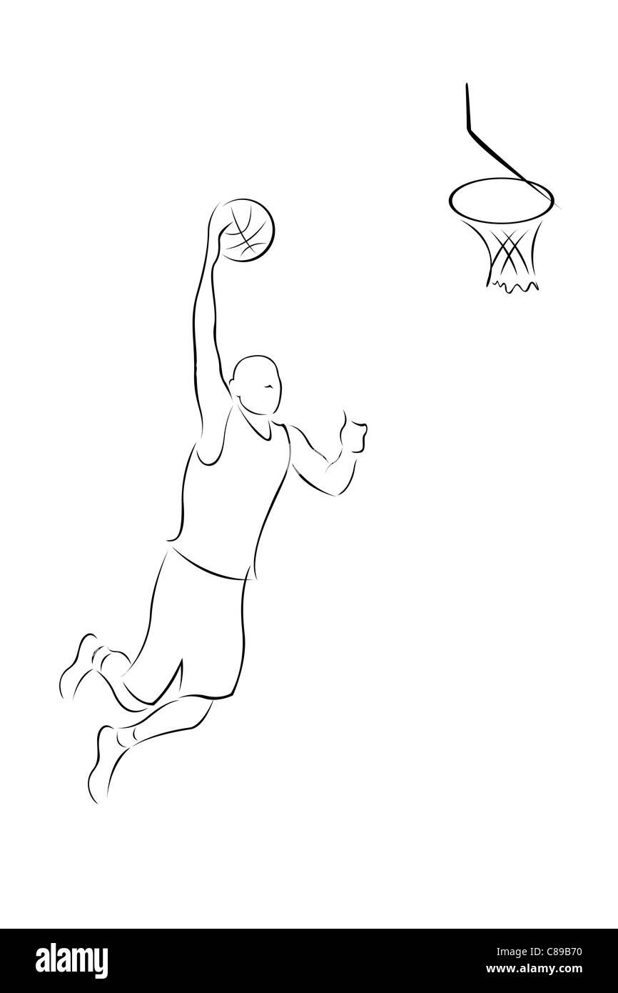 illustration of basket ball player on white background - Stock Image