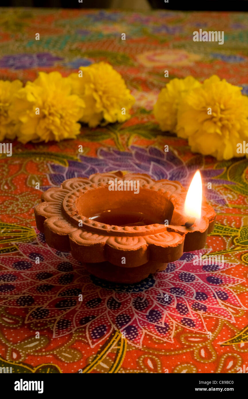 Diwali candle used during Indian holiday of Diwali , 'Festival of Lights' - Stock Image