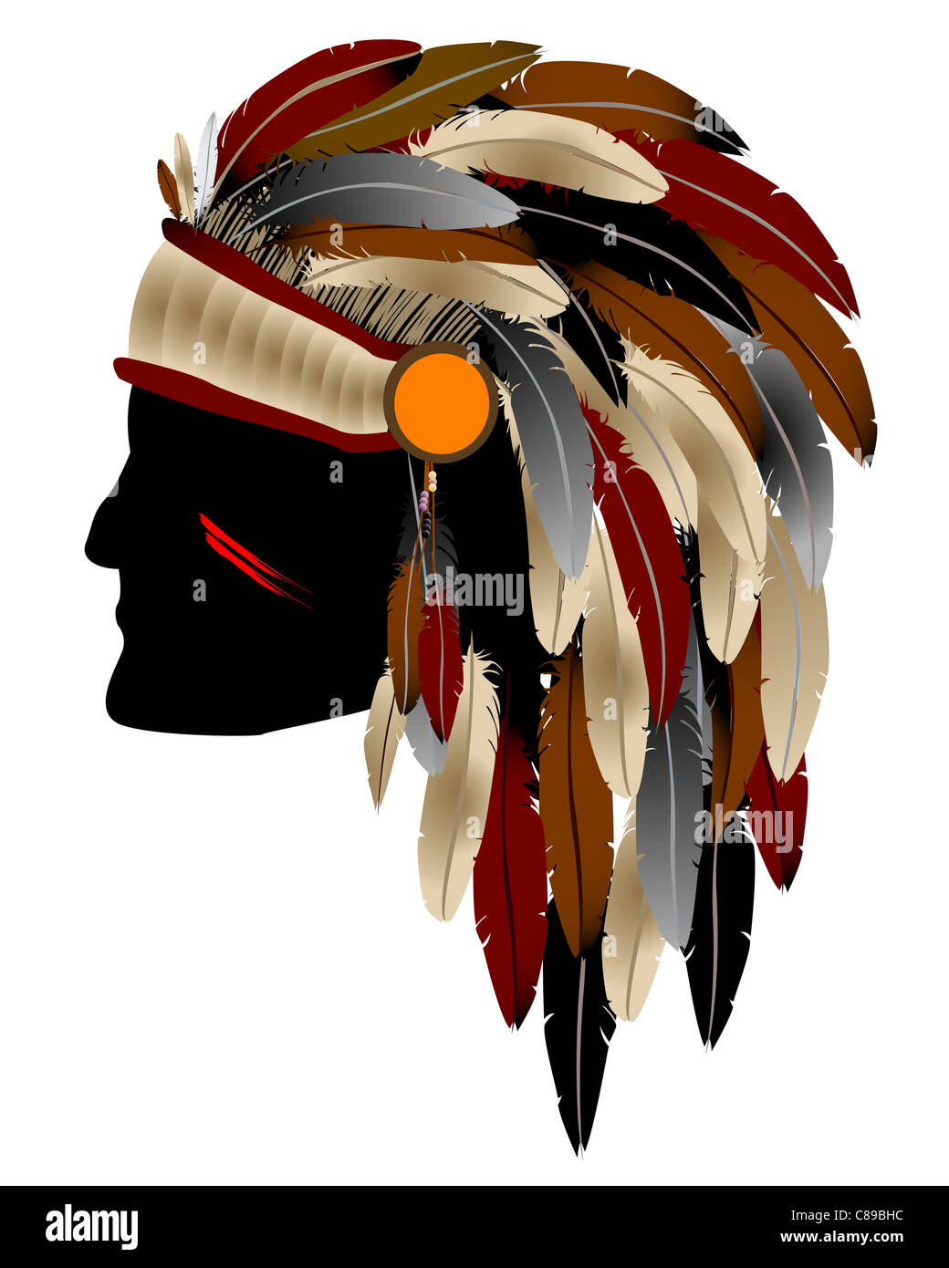 Native American Indian chief with feathers, isolated object over white background - Stock Image