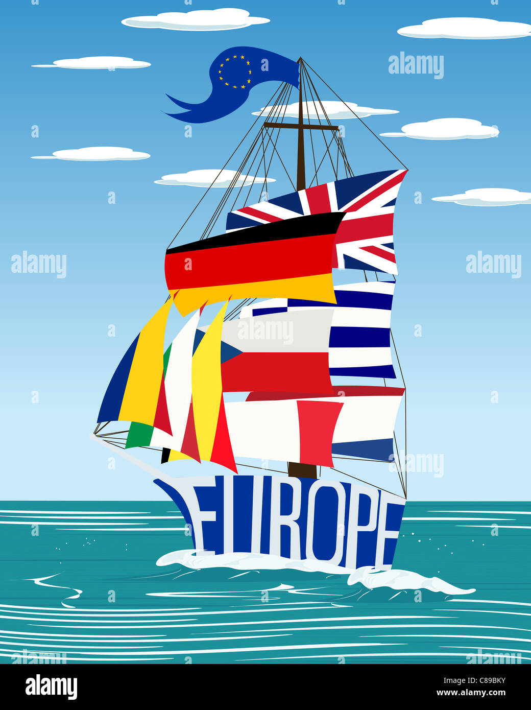 Conceptual European Union flag ship graphic - Stock Image