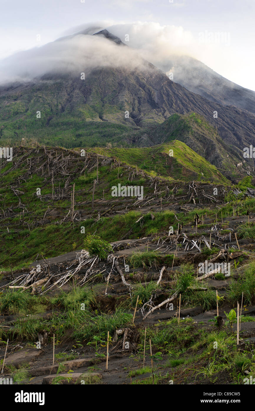 Gunung Merapi volcano from Kinahrejo, Yogyakarta, Java, Indonesia. - Stock Image