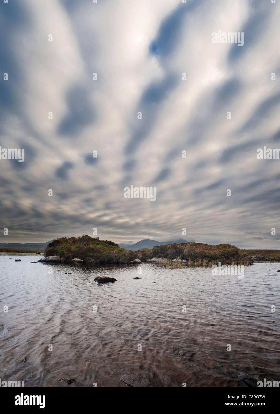 View towards the Twelve Bens mountain range from Arkeen More, Connemara, Co Galway, Ireland - Stock Image