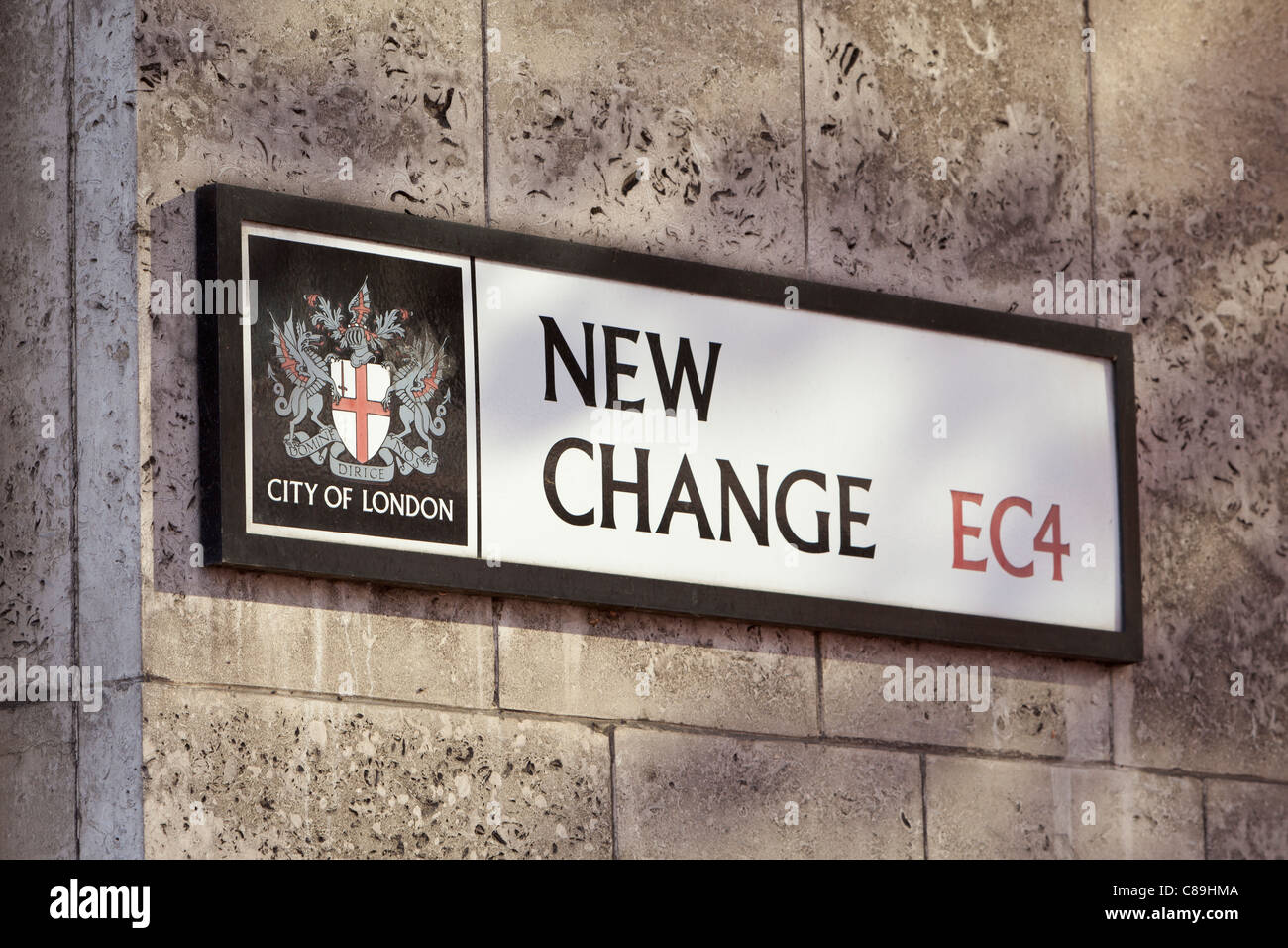New change street sign, London, England - Stock Image