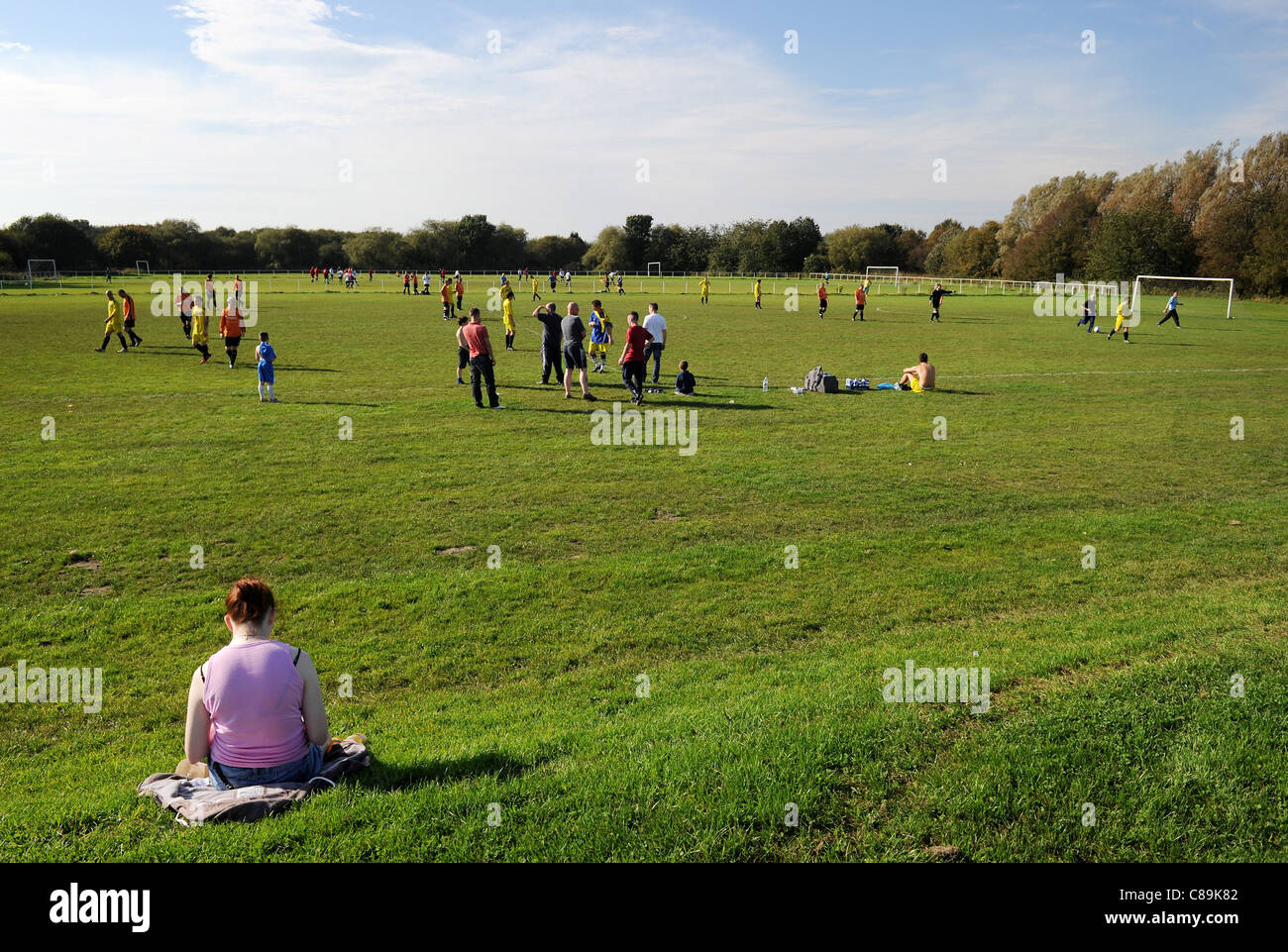 Amateur football match at Outwood Road, Radcliffe, Greater Manchester, England. Picture by Paul Heyes, October, - Stock Image