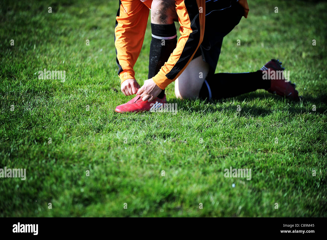 Amateur football match at Outwood Road fields, Radcliffe, Greater Manchester, England. Picture by Paul Heyes, October - Stock Image
