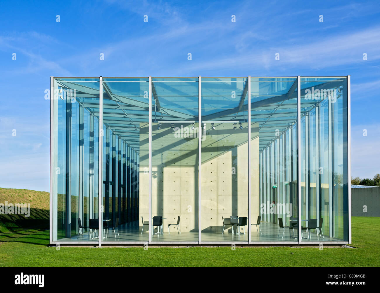 Langen Foundation art museum designed by Tadao Ando at Hombroich in Neuss in Germany - Stock Image