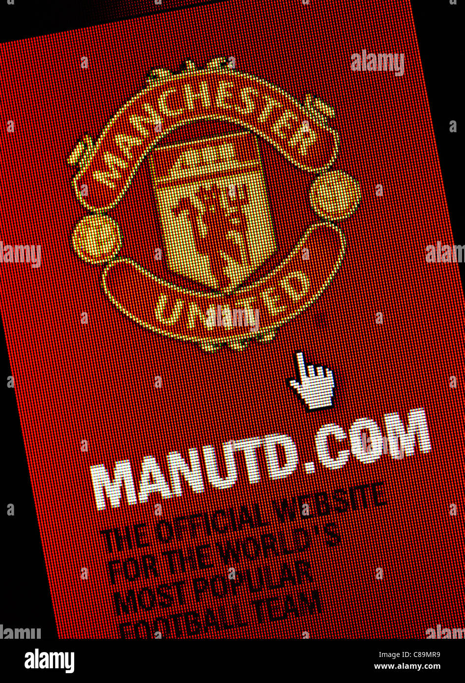 Manchester United FC logo and website close up - Stock Image