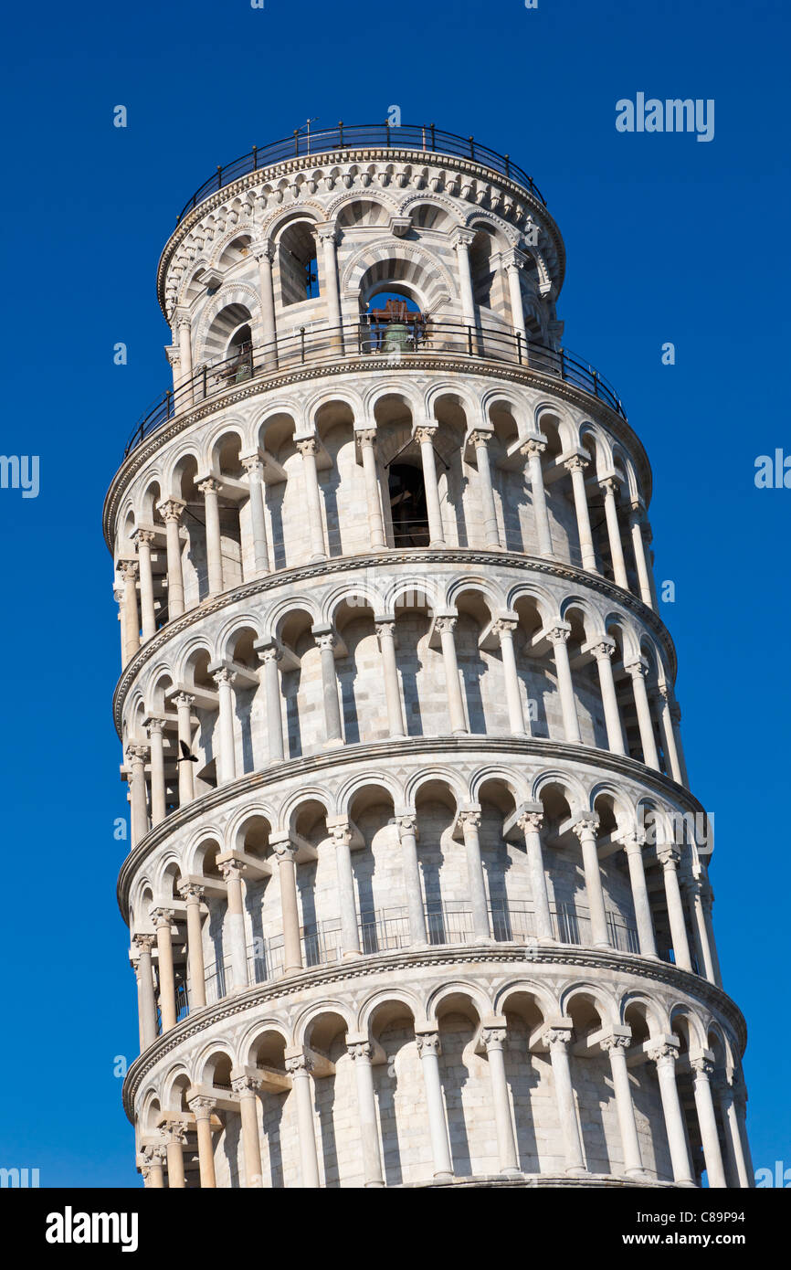 Italy, Tuscany, Pisa, View of Leaning tower against blue sky Stock Photo