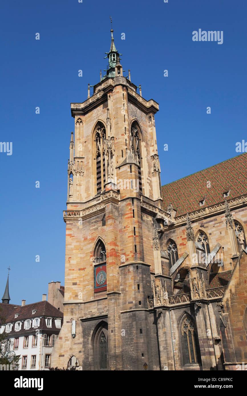 France, Alsace, Colmar, Haut-Rhin, Alsatian Wine Route, View of St. Martin church Stock Photo