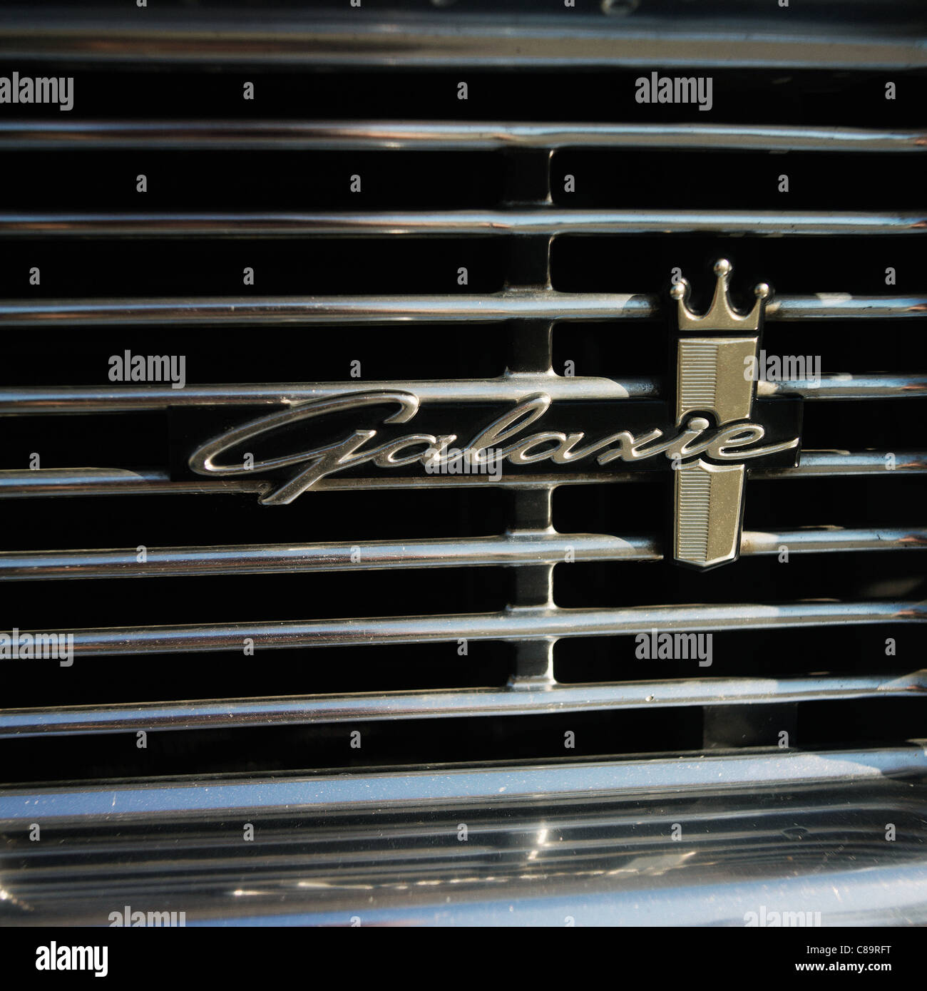 Ford Galaxie classic car grill close up - Stock Image