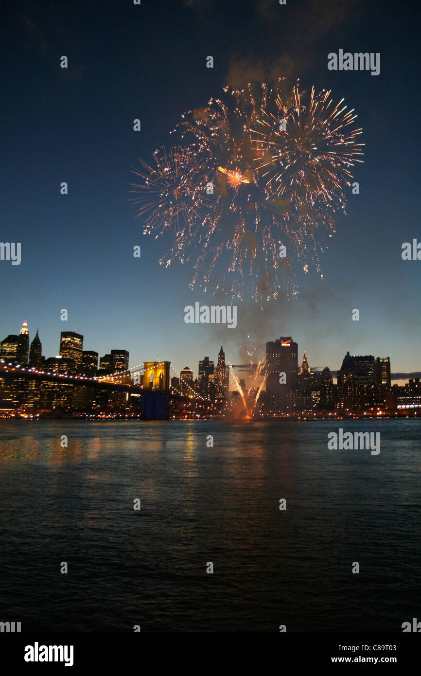 USA, New York, View of fireworks over hudson river at night - Stock Image