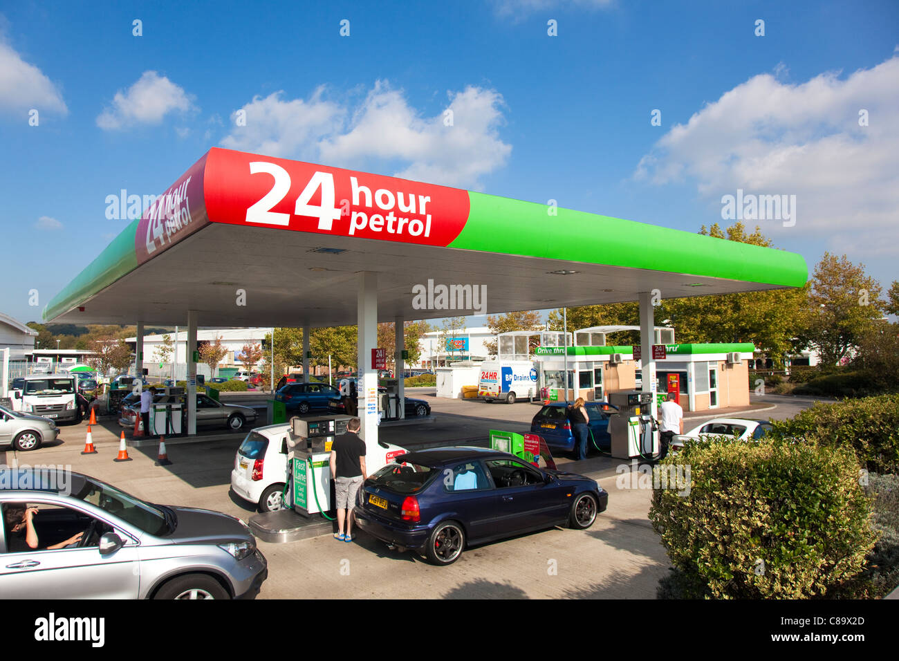 24 hour Asda motor fuel station with drive through booths and card ...