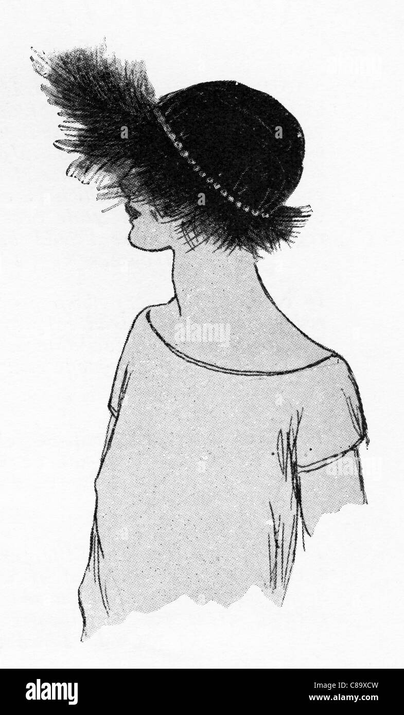 Fashion illustration circa 1922. Hat of black panne velvet with feathery brim of black cross. - Stock Image