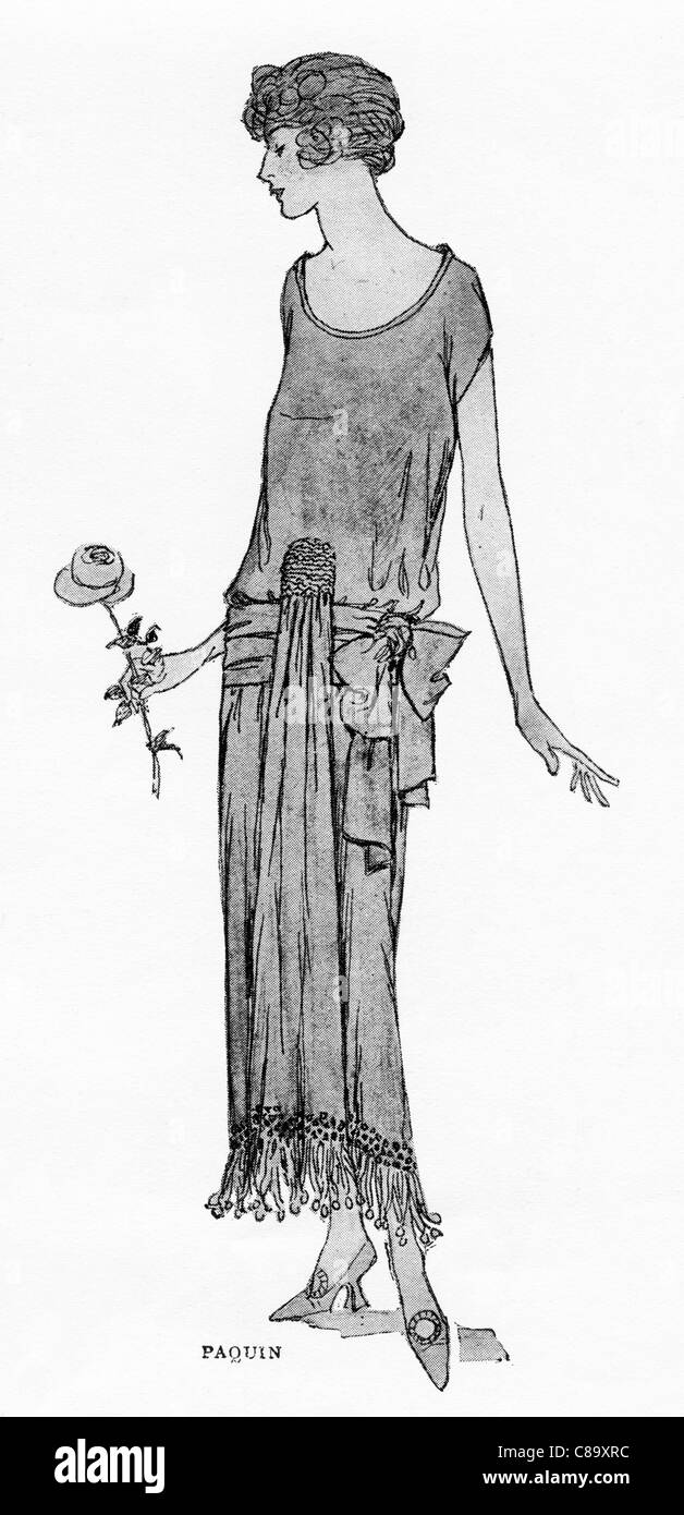 Fashion illustration circa 1922. Clothes by French fashion designer Jeanne Paquin (1869–1936) - Stock Image