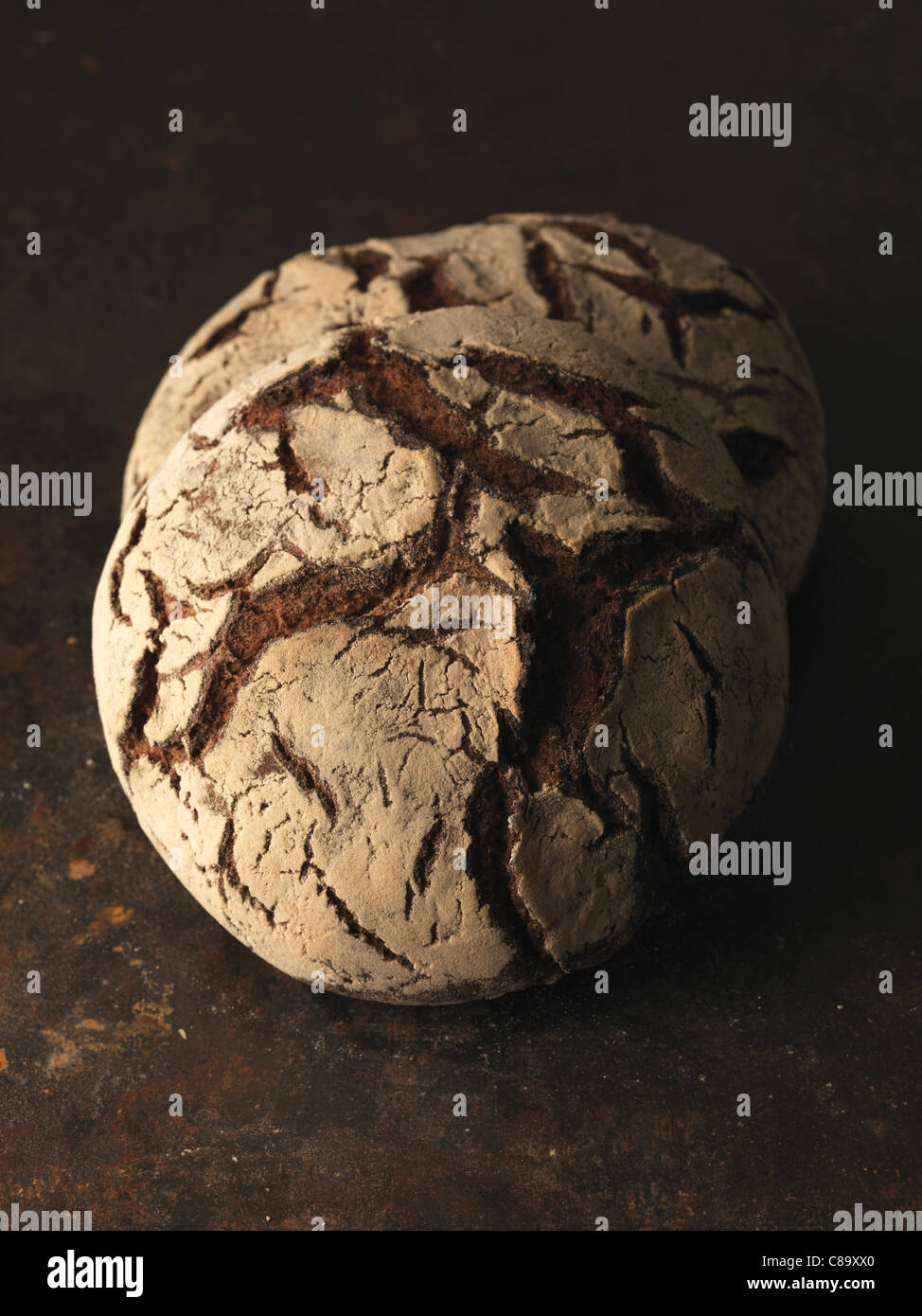 Round loaves of bread - Stock Image