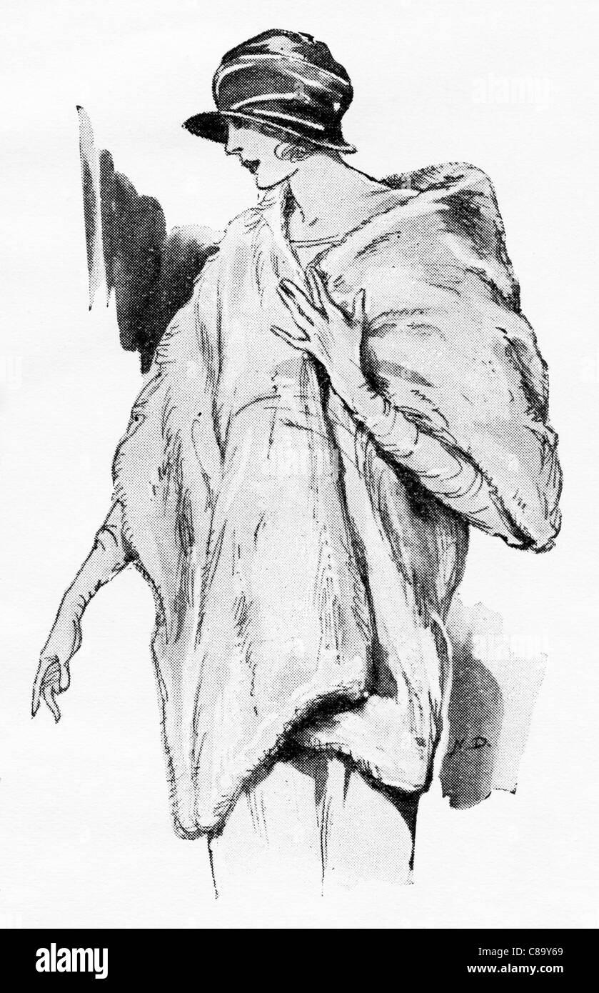 Fashion illustration circa 1922. Wide fur wrap of white manchu rabbit. - Stock Image
