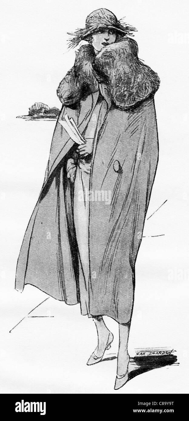 Fashion illustration circa 1922. Cape in French fancy duvetyn with big collar of blue beveren rabbit. - Stock Image