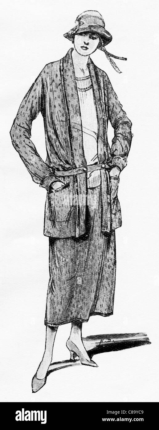 Fashion illustration circa 1922. Coat and skirt in a marle mixture of grey and black. - Stock Image