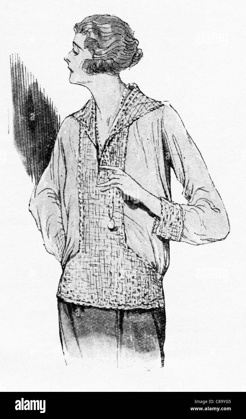 Fashion illustration circa 1922. Over-blouse in crepe de Chine trimmed hand crochet to match. - Stock Image