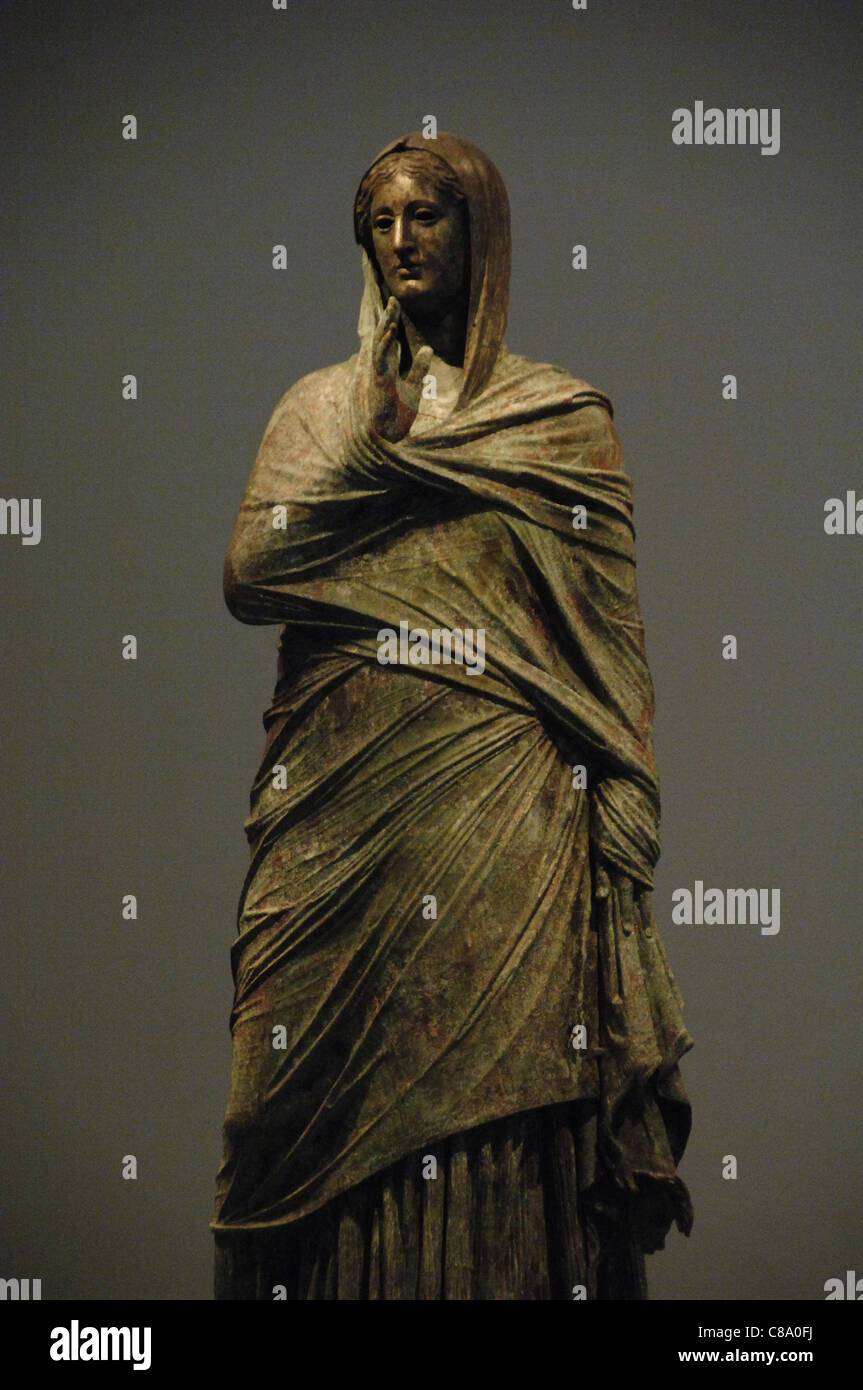 Greek Art. The lady of Kalymnos. Bronze statue. - Stock Image