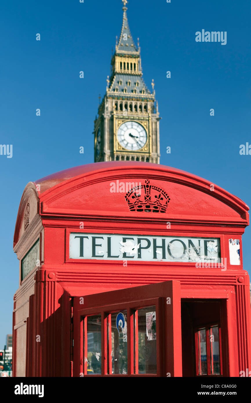 Two London icons, Big Ben and Red Telephone Box - Stock Image