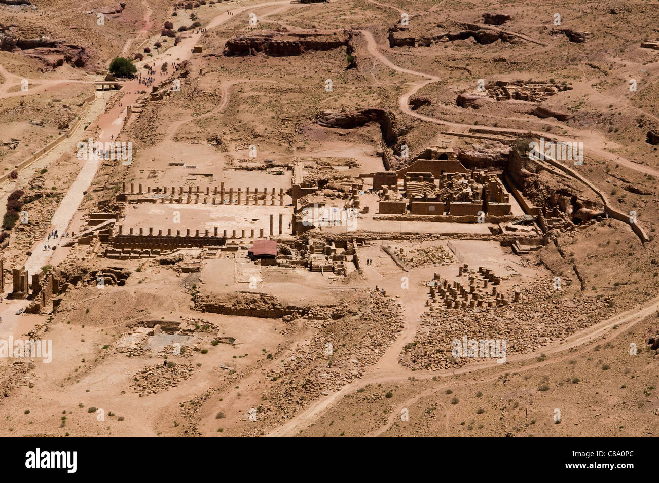 aerial view of the ancient city in Petra, the UNESCO World Heritage Site in Jordan Stock Photo