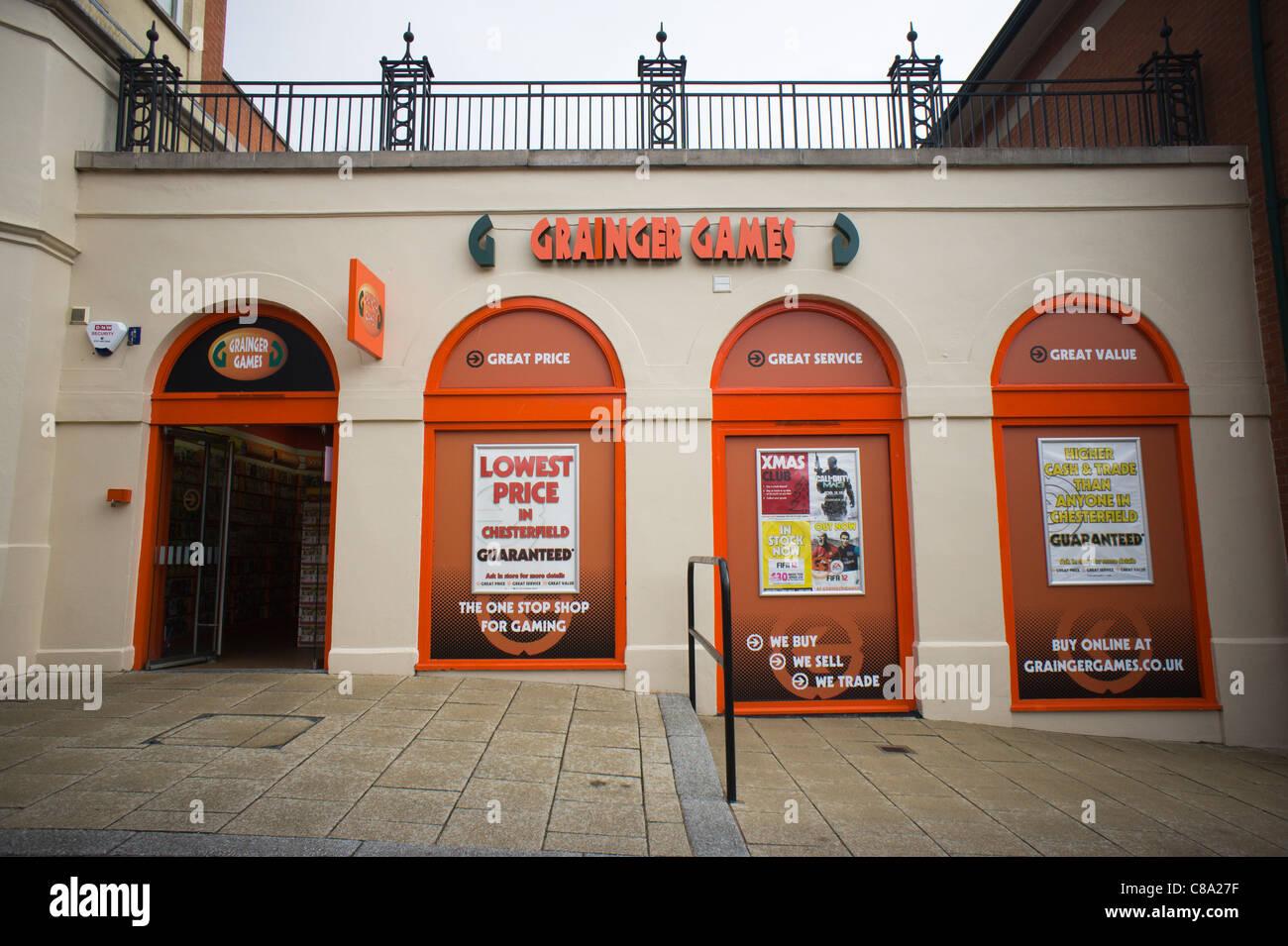 Grainger Games shop frontage on Steeplegate Vicar Lane shopping centre Chesterfield - Stock Image