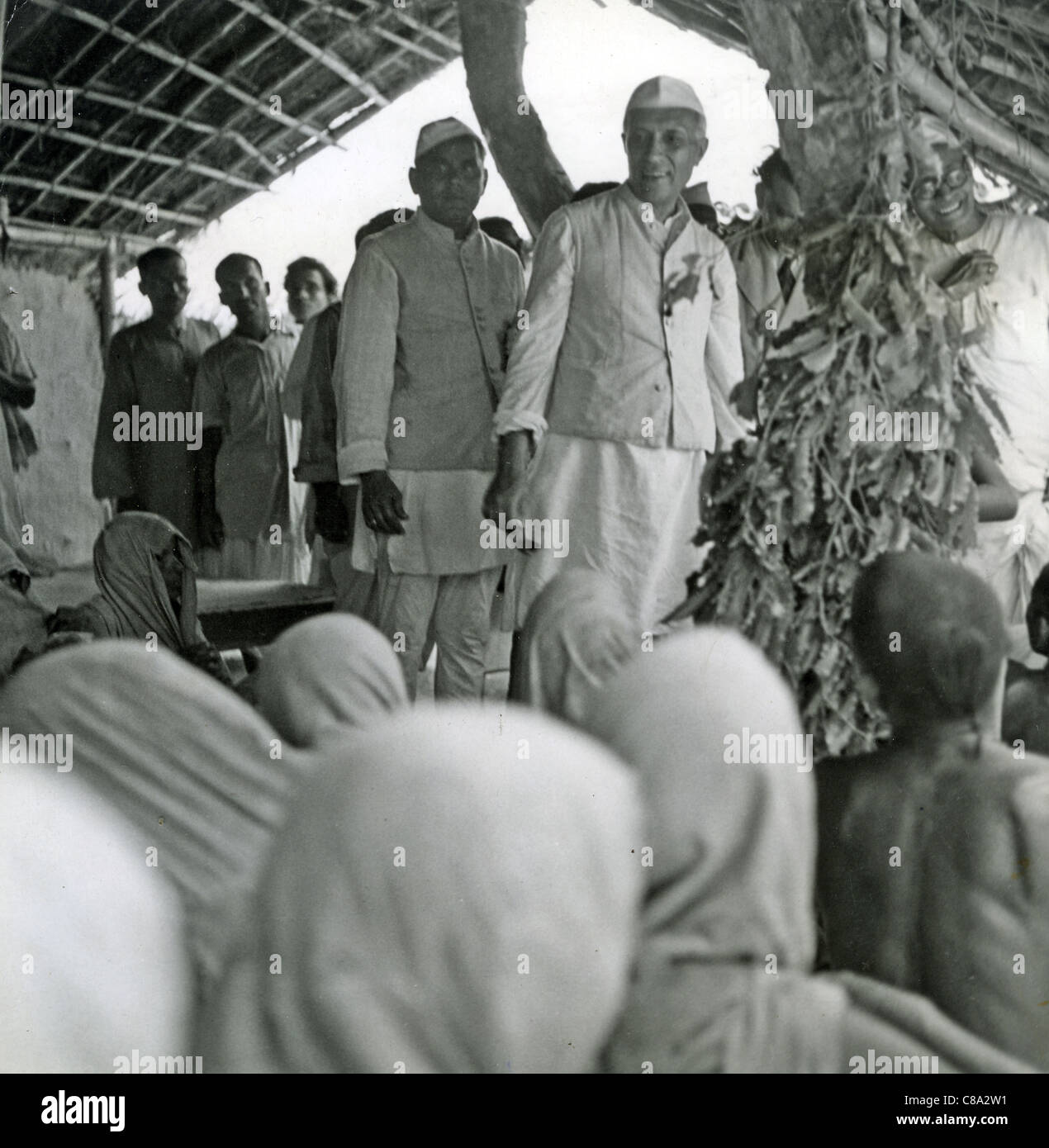 JAWAHARLAL NEHRU (1889-1964) as Indian Prime Minister at a Bihari famine relief centre about 1960 - Stock Image
