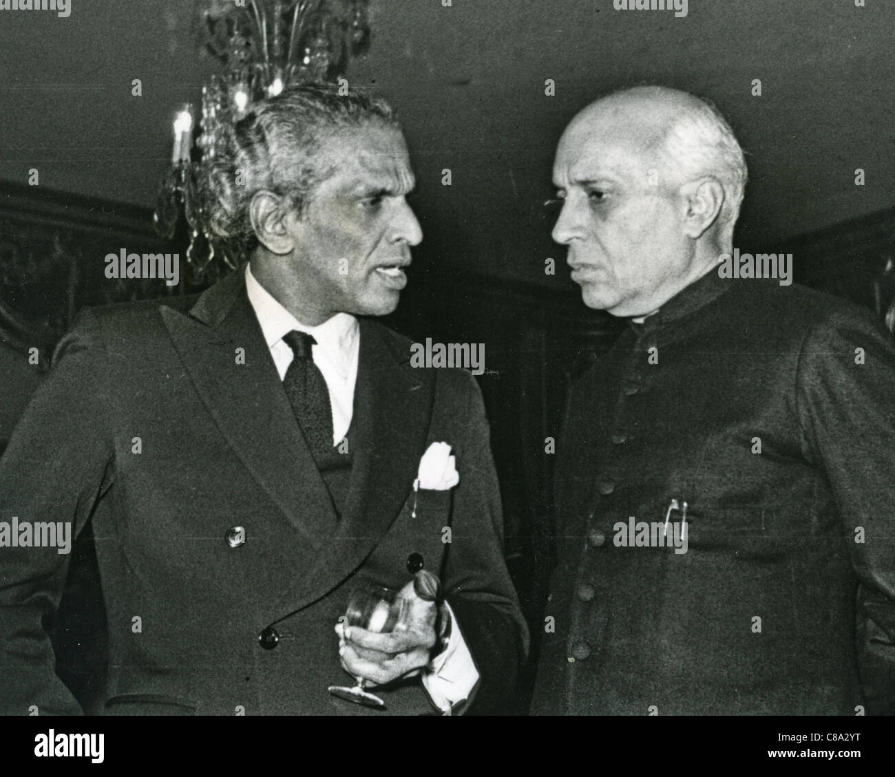 JAWAHARLAL PANDIT NEHRU  Prime Minister of India at left with Vengalil Krishna Menon about 1952 - Stock Image