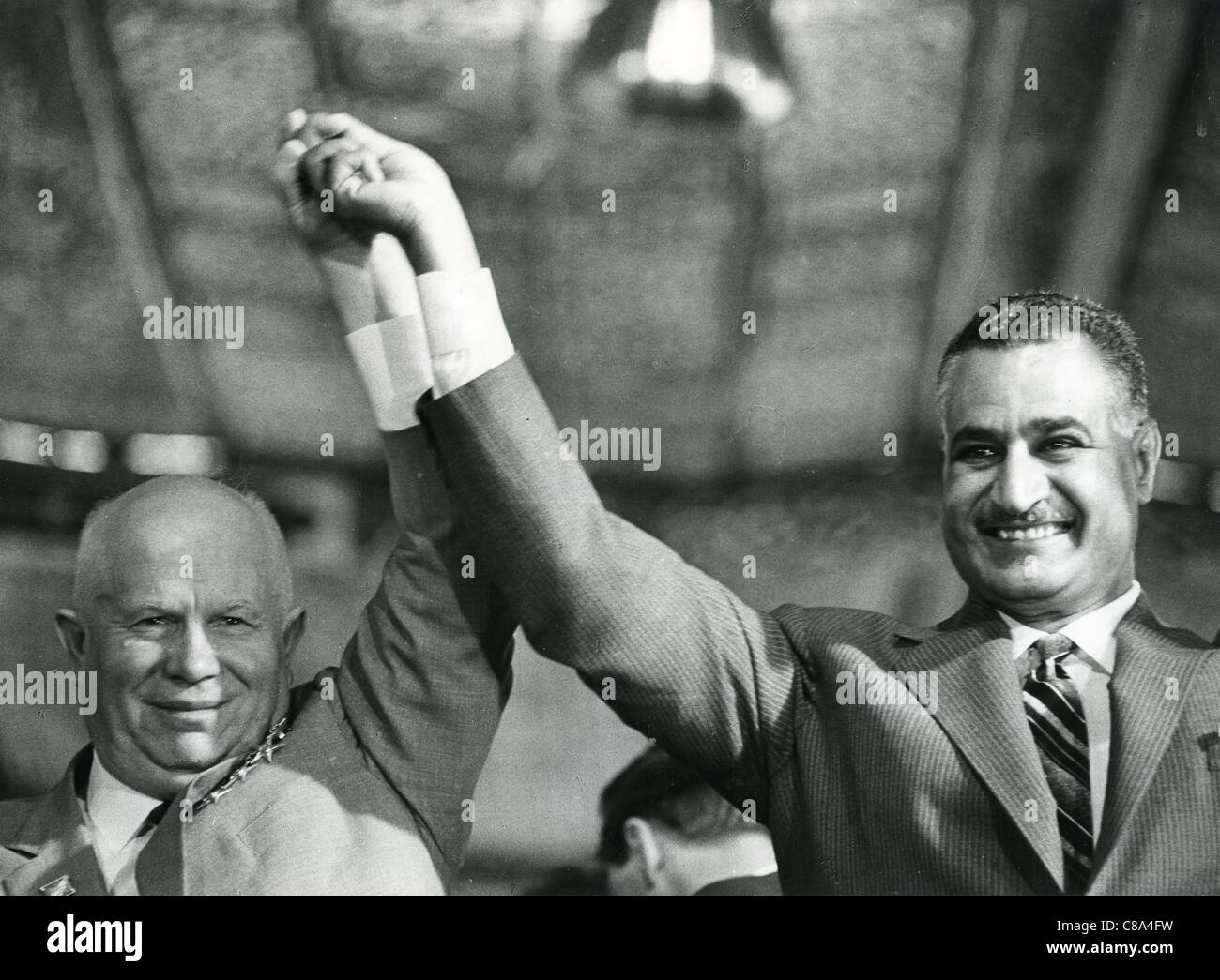 GAMAL ABDEL NASSER (1918-1970) second President of Egypt with Nikita Kruschev in May 1964 - Stock Image