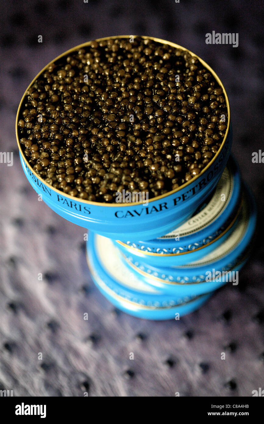 Cans of Ossetra Imperial caviar - Stock Image