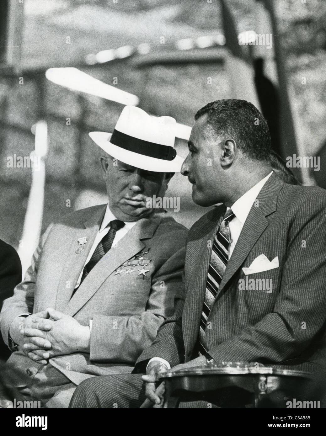GAMAL ABDEL NASSER (1918-1970) second President of Egypt at right with Nikita Kruschev in May 1964 - Stock Image