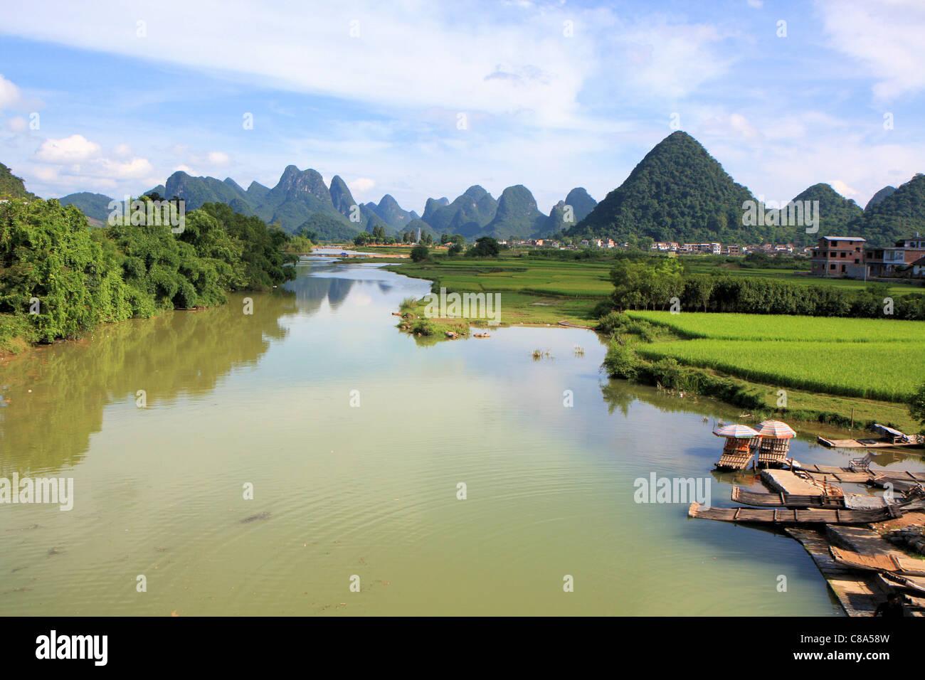 The Li river, Yangshuo, China Stock Photo