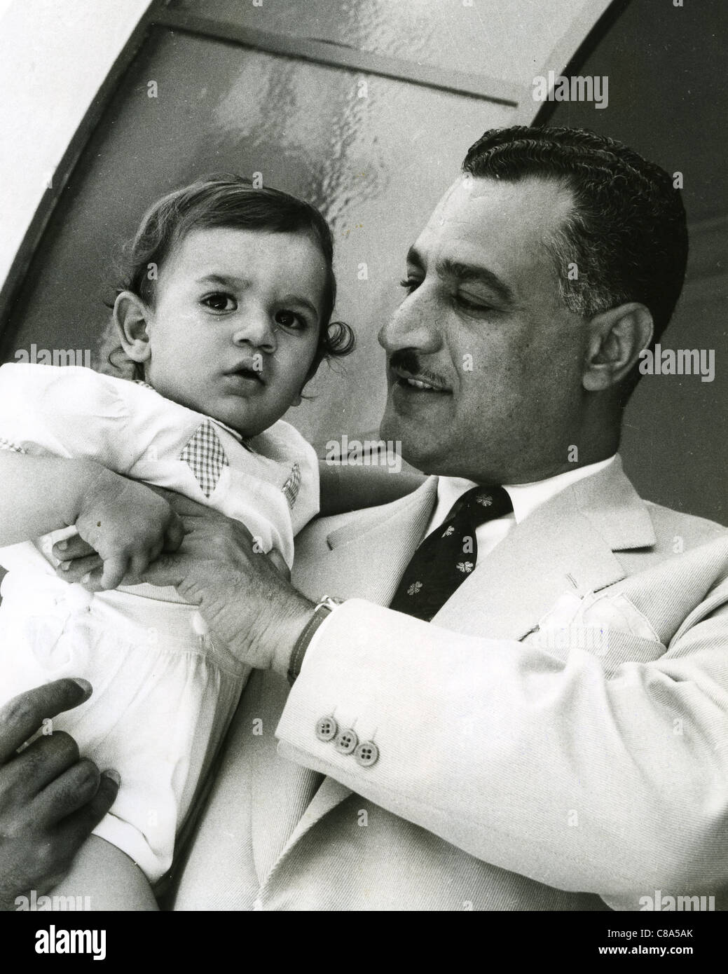 GAMAL ABDEL NASSER (1918-1970) second President of Egypt with one of his three sons - Stock Image