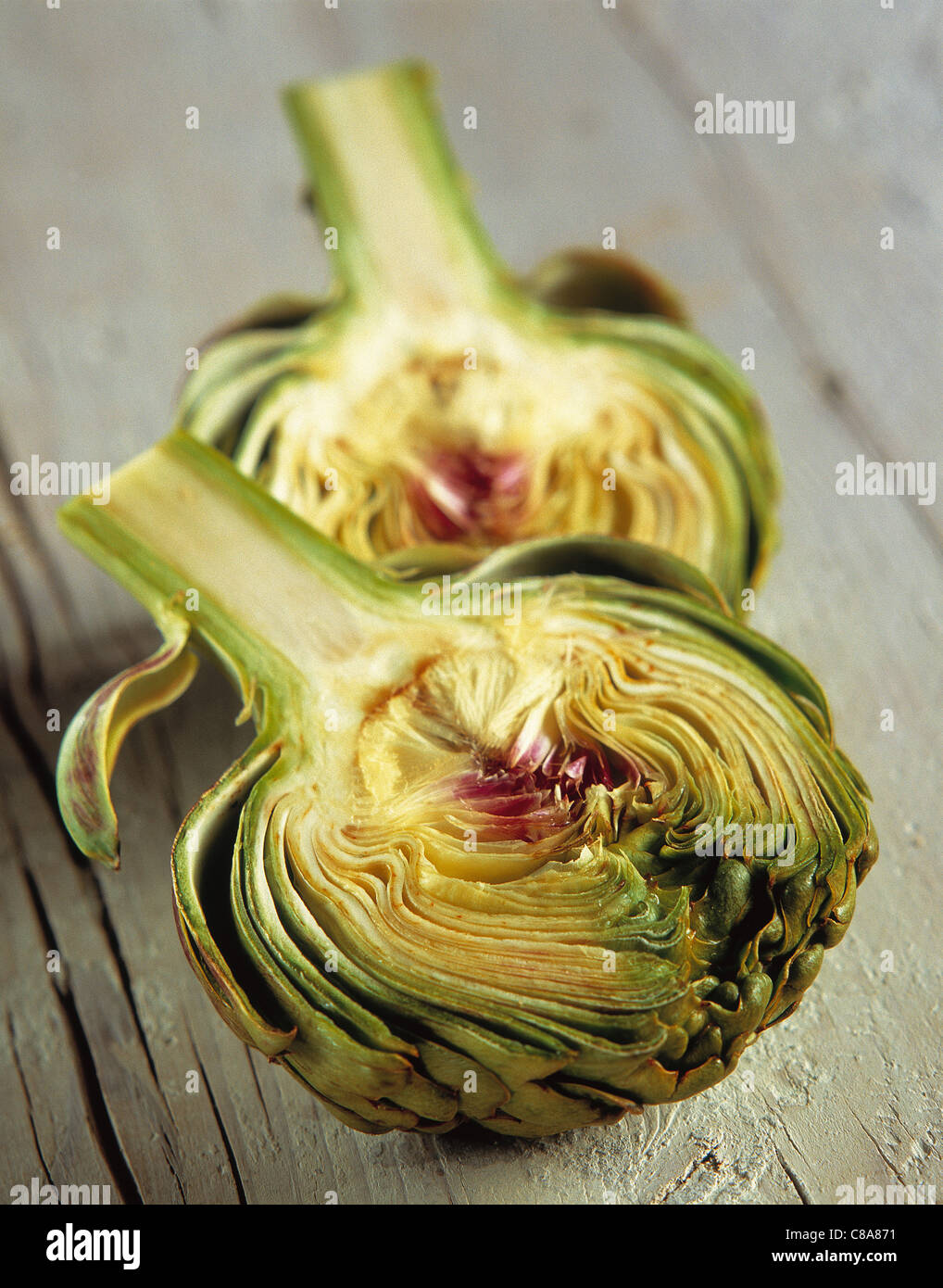 Artichoke cut in half Stock Photo
